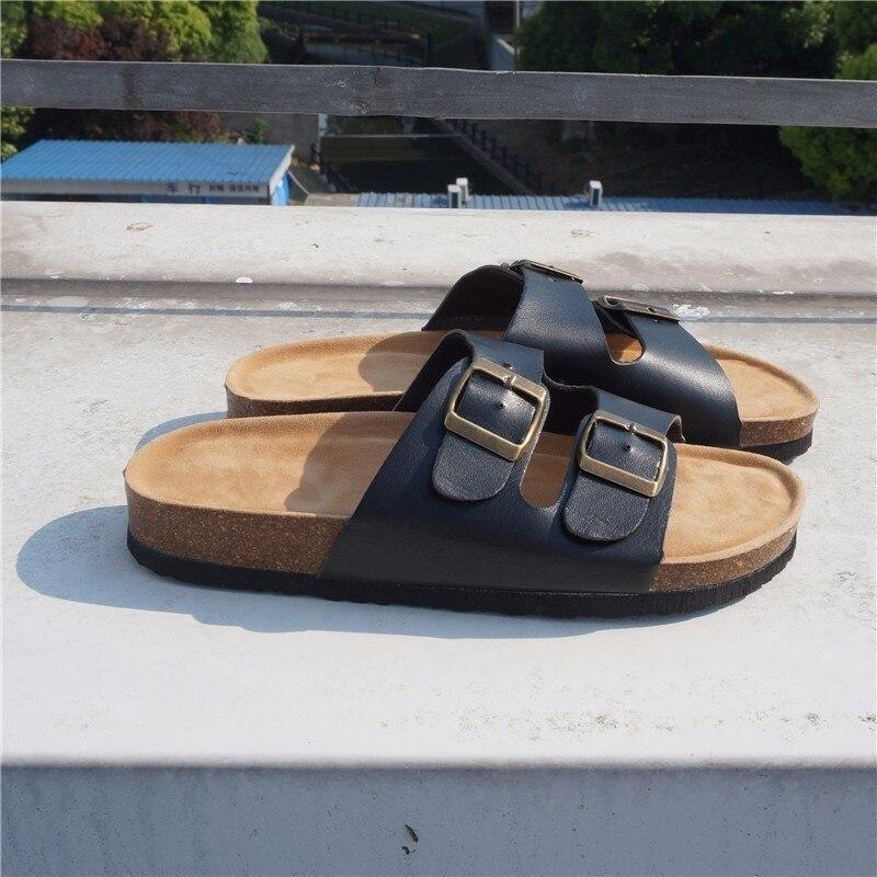 RASMEUP Leather Women's Slippers 2018 Summer Soft Cork Buckle Flip Flops Women Beach Slides Casual White Woman FlipFlops Shoes