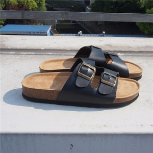Image 4 - RASMEUP Leather Womens Slippers 2018 Summer Soft Cork Buckle Flip Flops Women Beach Slides Casual White Woman FlipFlops Shoes