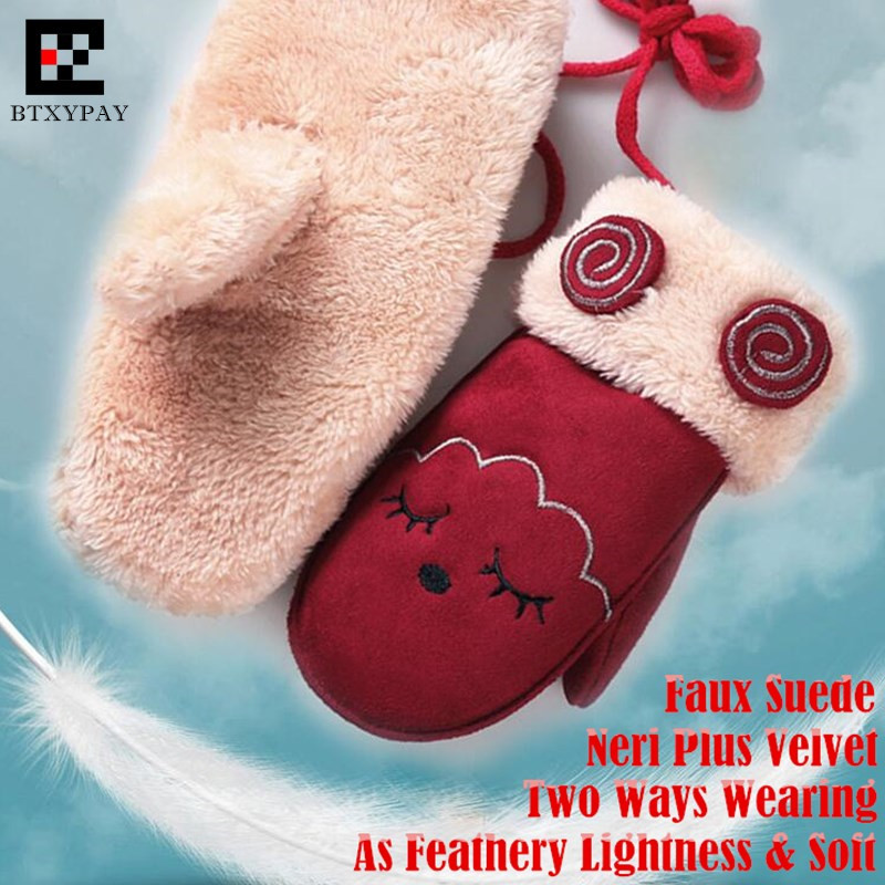 Children Winter Double Plus Velvet Faux Fur Suede Keep Warm Gloves,Boy&Girl Unisex Cute Cartoon Hanging Neck Windproof Mittens