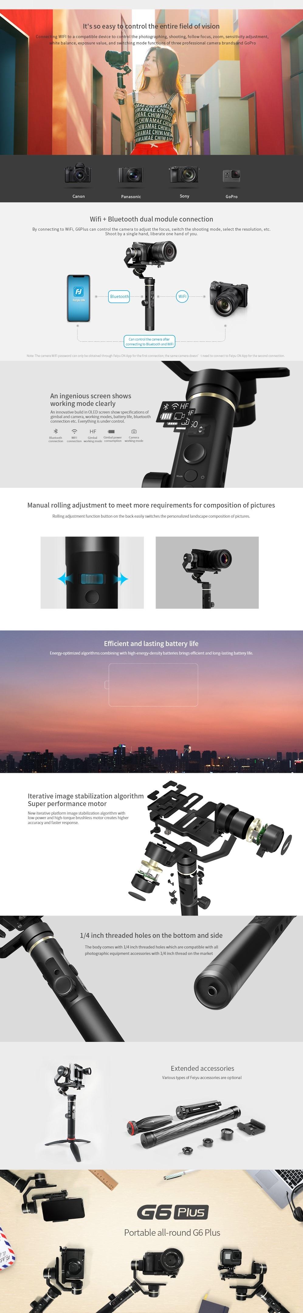 Feiyu G6 Plus 3-Axis Handheld Gimbal Stabilizer For Gopro,Smartphone,Mirrorless Digital Pocket Cameras Payload 800g Splash Proof 2