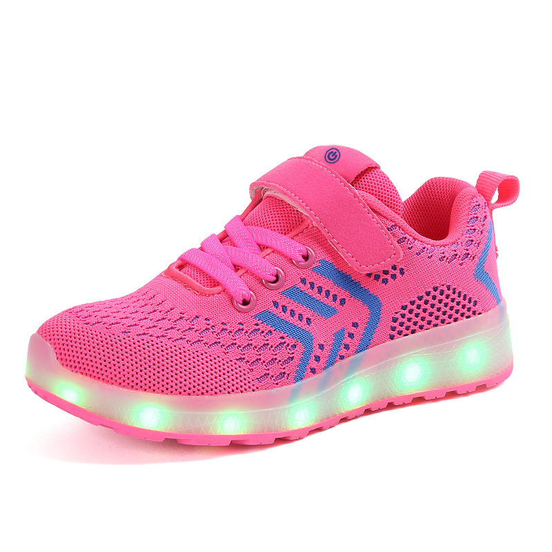 Breathable 2018 New 25-37 USB Charger Glowing Sneakers Led Children Lighting Shoes Boys/Girls illuminated Luminous Sneaker PinkBreathable 2018 New 25-37 USB Charger Glowing Sneakers Led Children Lighting Shoes Boys/Girls illuminated Luminous Sneaker Pink
