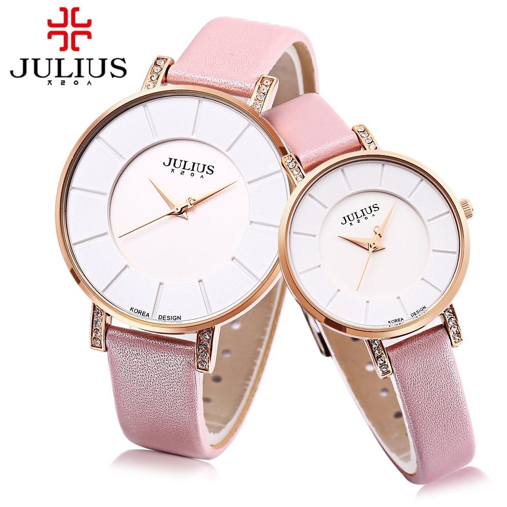JULIUS JA - 766 Couple Quartz Watch Loves' Japan Movt Genuine Leather Strap 3ATM Wristwatch oulm movt drop