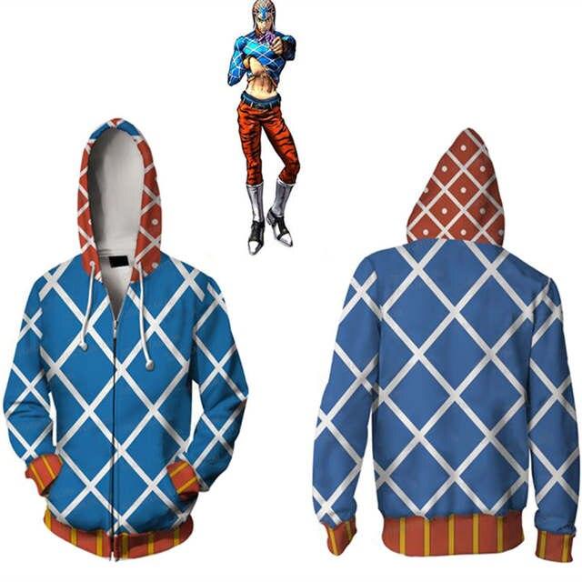 US $18.99 24% OFF|Anime JOJO'S BIZARRE ADVENTURE GUIDO MISTA Hoodies Sweatshirts Cosplay Costumes 3D printed cardigan hooded sports sweater jacket in