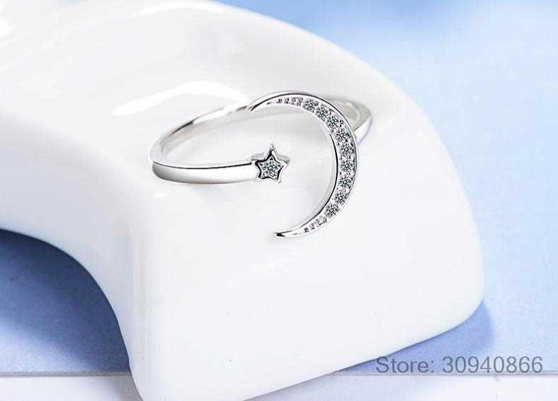100% ของแข็ง 925 เงินแท้เครื่องประดับ Moon Star CZ ค็อกเทลเปิดแหวนขนาดใหญ่สำหรับของขวัญผู้หญิงผู้หญิง DA27