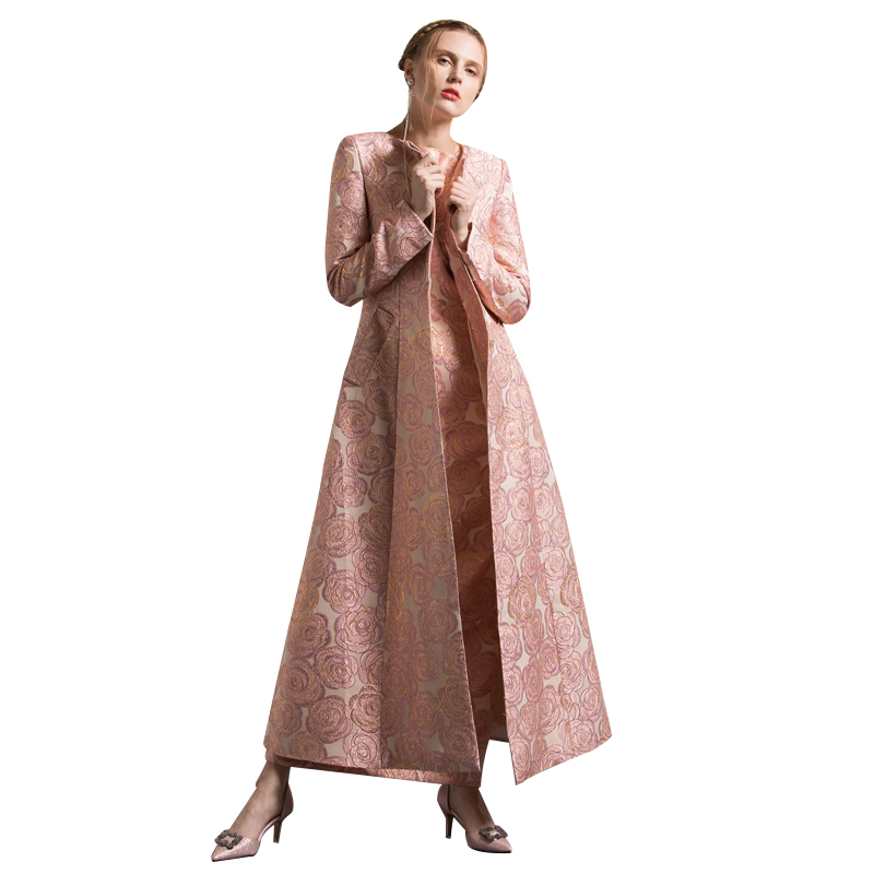 S-XXXL Autumn Winter Jacquard Embroidery Long Coat Florals Plus Size Luxury   Trench   Women Muslim Style Outwear Quality Coat 6279