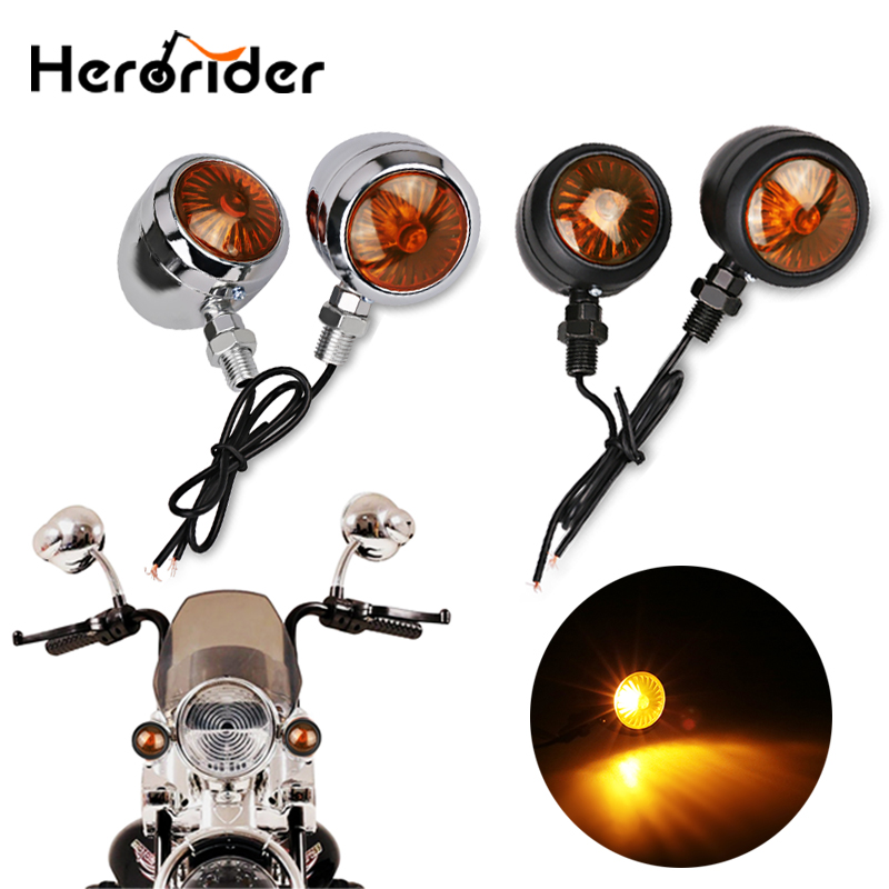4x Motorcycle Turn Signal Fit For Bobber Chopper Amber Lights Lamps Lens
