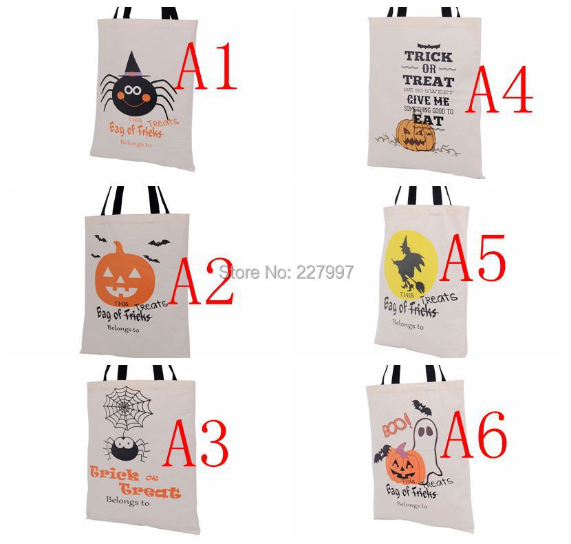 200pcs 6 Types Halloween Tote Bags with Black Handle Pumpkin Christmas Shopping Bags Festival Gifts Bag Halloween Canvas Bag