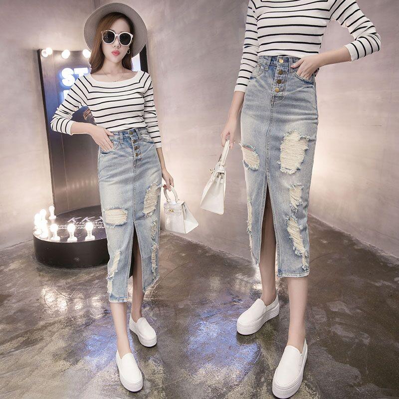proljetna moda traper suknje visokog struka ženske tanke suknje s - Ženska odjeća - Foto 2