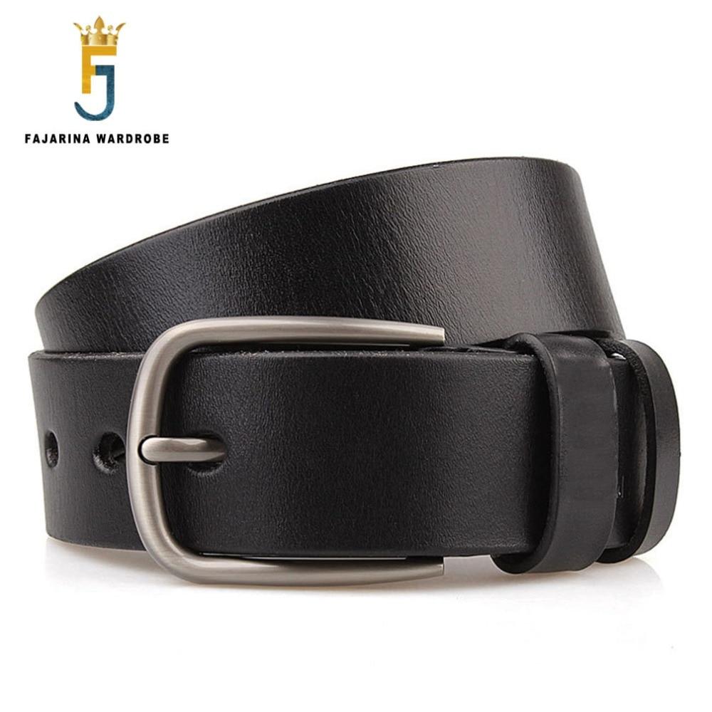 FAJARINA Kvalitní pravá kožená přezka Kovové pásy Pánská 3,8cm široká pro džíny Pánské Prodloužení Velké 105-165cm Délka FBFAJA0161