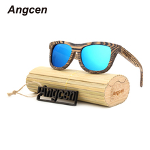 Angcen 2017 New fashion Products Men Women Bamboo Sunglasses Polarized Lens Wooden Frame Handmade Free Shipping CA03