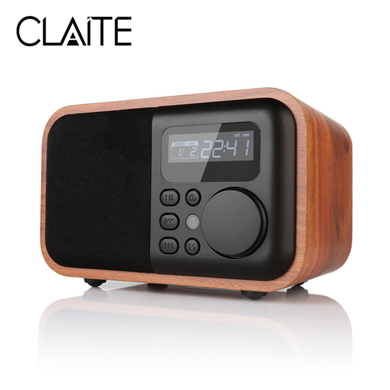 CLAITE D90 Wooden Alarm Clock Bluetooth Speaker Portable Mini Radio Speaker 1800mah Digtal Handfree Call Speaker цена