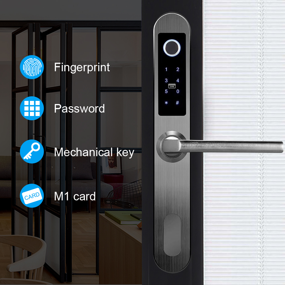 304 SS Smart Lock Electronic Biometric Fingerprint Scanner Keyless Touch Security Door Locks for Aluminum Glass sliding door