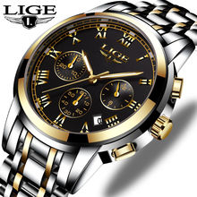 LIGE Watches Mens Top Luxury Brand Chronograph Mens Sport Waterproof Wristwatch