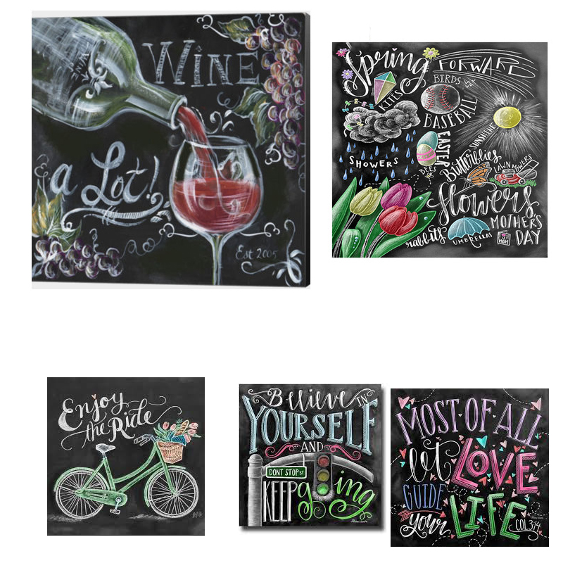 Flower Wall Decor Reversible Mosaic With Chalkboard: Full 5d Diy Diamond Paintings Chalkboard Drawing
