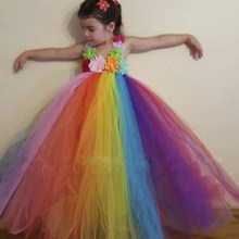 2016 Радуга Мода Высокого класса Пользовательских Цветок Девочки Платья Принцессы Платье 2-14Year детская Балетная Пачка