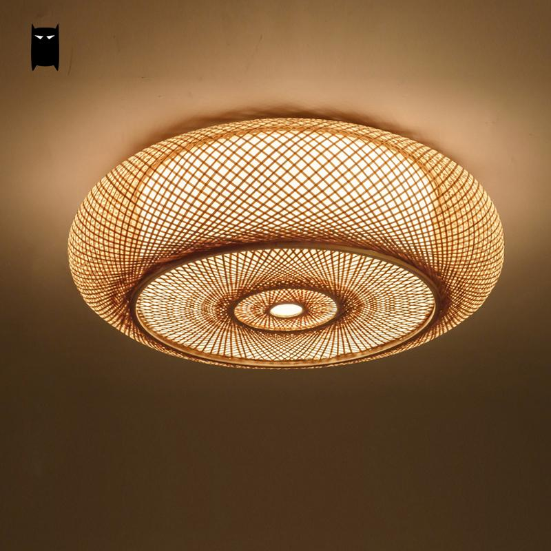 Us 180 18 9 Off Hand Woven Bamboo Wicker Rattan Round Lantern Shade Ceiling Light Fixture Rustic Asian Anese Plafon Lamp Bedroom Living Room In