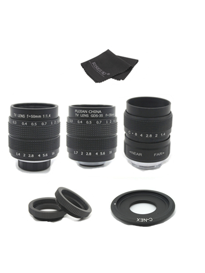 3in1 CCTV 25mm f1.4 Lens / 35mm f1.7 Lens/ 50mm f1.4 Lens Mount Ring Kit for SONY E Mount A6500 A6300 A6000 NEX Series Camera 35mm f 1 6 c mount lens for aps c sensor sony e nex 7 nex6 nex5t 5r 3 a5100 a6000 a5000 a3000 a6300 a6500