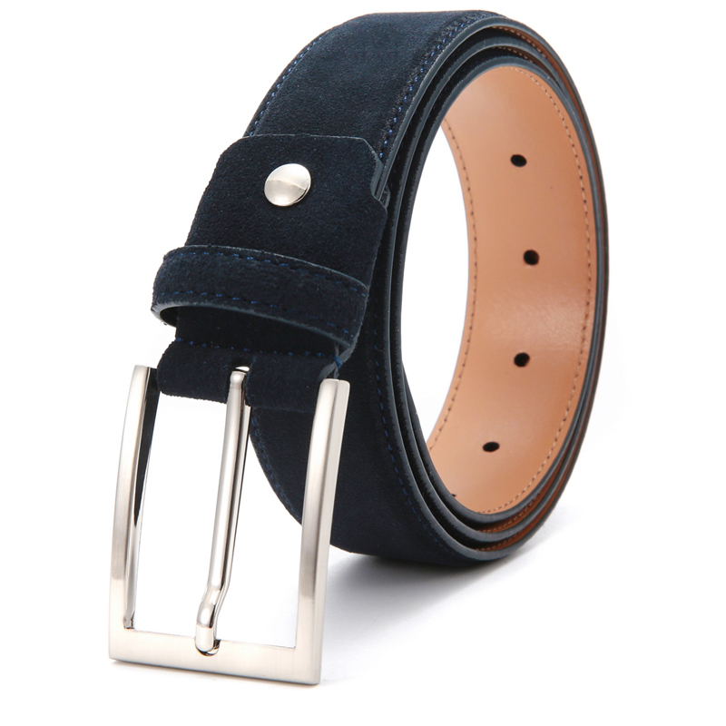 New Suede Leather Men's Belts Fashion Genuine Leather Cowhide Belt Luxury Brand Brushed Metal Pin Buckle Ceinture Homme