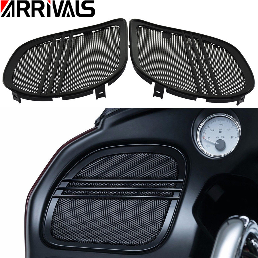 Chrome Tri Line Speaker Grills Covers Accents For Harley Road Glide 2015-2017
