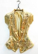 Женщина мужчина серебро золото жилет певица производительности платье Ds ведущий танцор одежда кисточка жилет джазовый танец пиджак костюм топ
