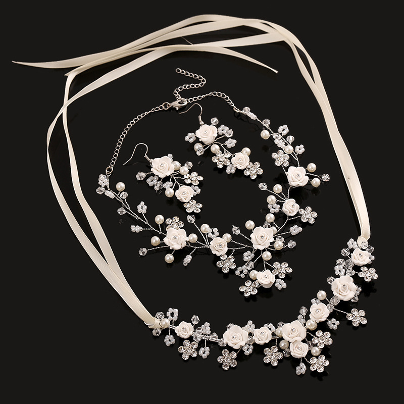 3 Pcs Rhinestone Bridal Headband Jewelry Sets Flower Necklace Earrings Handmade Wedding Accessories Pearl Necklace Earrings Set a suit of chic fake pearl rhinestone hollow out flower necklace and earrings for women