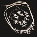 4 Unid/set Diadema Nupcial Conjuntos de Joyas Aretes Collar de la Flor Hecha A Mano Accesorios de La Boda Collar de Perlas Pendientes Establecidas