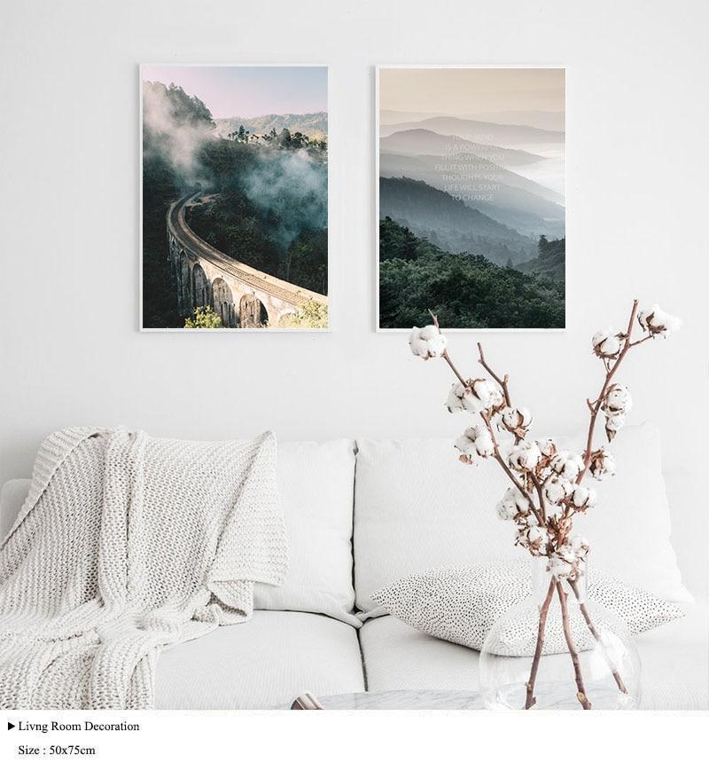 Wall Art Landscape Canvas Poster Nordic Nine Arch Bridge Foggy Forest Print Painting Scandinavian Decoration Picture Home Decor
