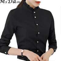 Mujeres Camisas Con Volantes Formal Office Lady Work Wear Tops Blusas Camisas Blusas Mujer Chemise Femme Gris Negro Blanco S ~ 2XL W154