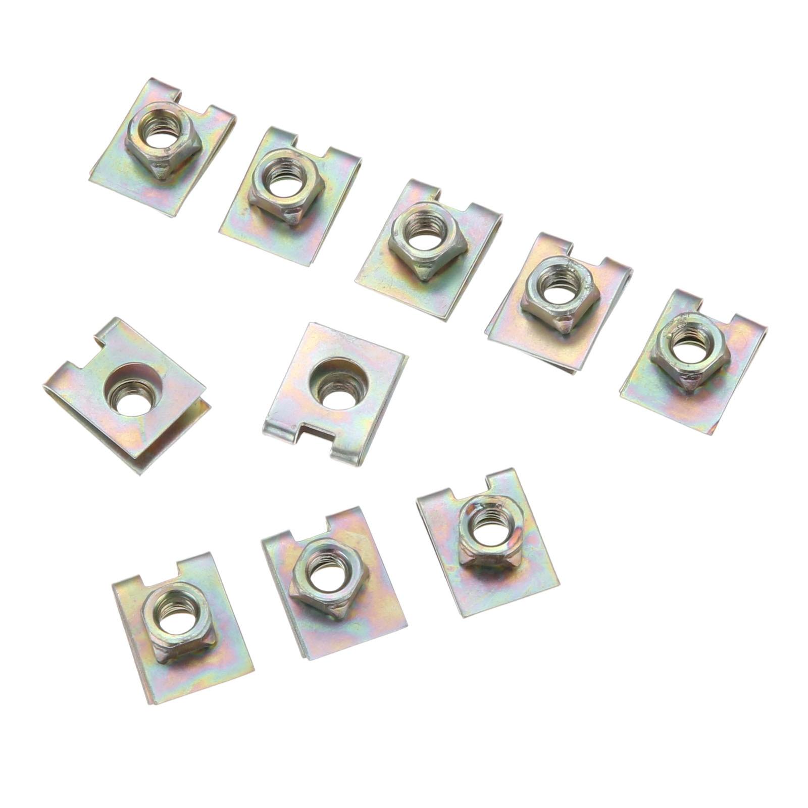20X M6 6MM Car Interior Metal Spring Screw U-type Clip Nut Fasteners Retainers