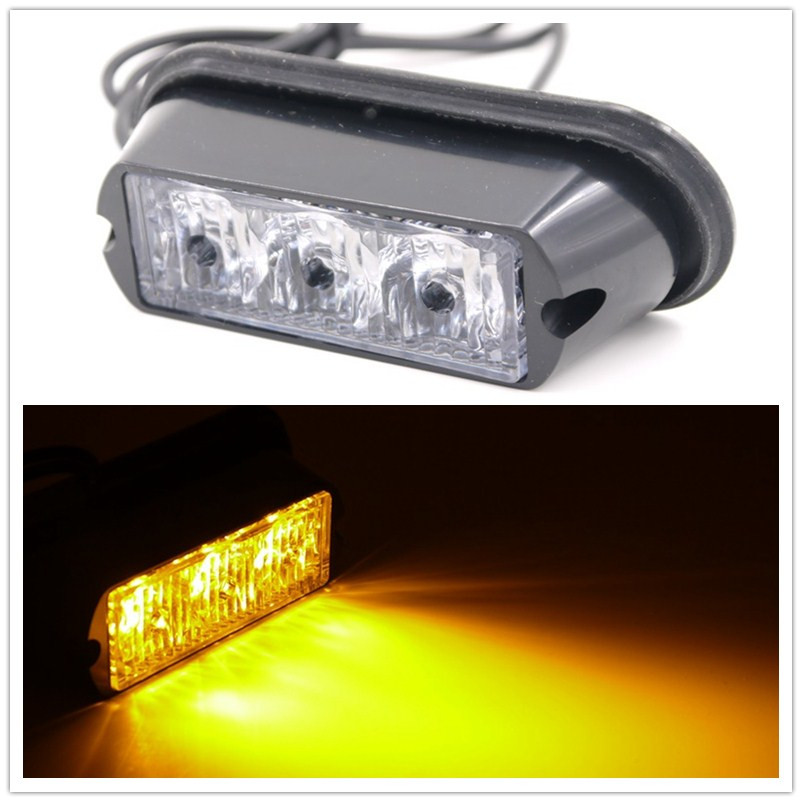 08003 Amber Red blue green white Super bright 3LED Car Truck Emergency Strobe Flash warning light High Quality High Power