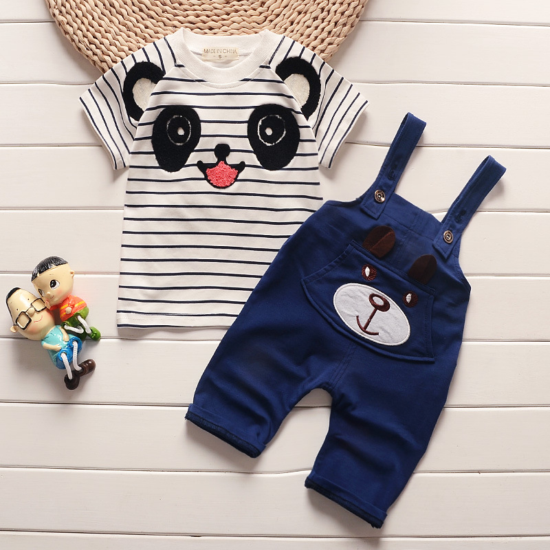 Summer BabyS Sets Boys Short Sleeve Striped Bear T-Shirt Tops + Overalls Shorts Kids Two Pieces Suits Toddler Clothing