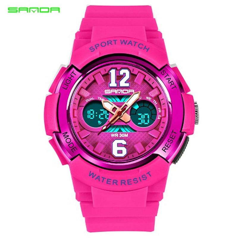 SANDA Famous Luxury Brand Sport Watch Watch Femra Orë Zonja LED Dore - Ora për femra