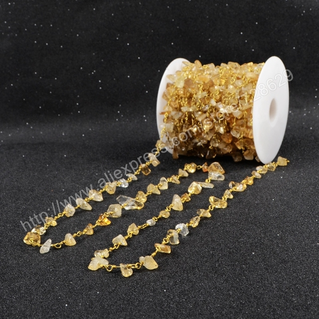 5Meter/lot New  Wire Wrapped Natural Citrine Chips Beads Link Rosary Chains Jewelry Findings JT048
