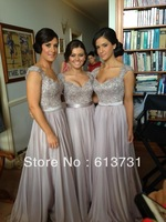 Free shipping Norma Couture Silver A Line Cap Sleeves Chiffon Long Bridesmaid dresses Party Dresses BD3091