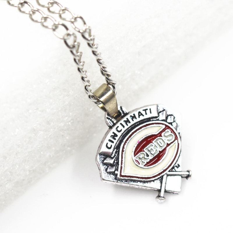 12pcs/lot Enamel Cincinnati Reds Baseball Necklace US Sport Necklace Pendant Charms with 24inch Chains Necklace Jewelry