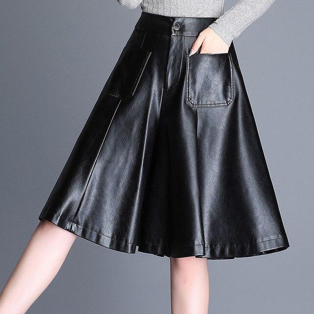 High waist shorts Women's leather skirts shorts 2018 Autumn Fashion PU leathe Ladies Skinny Leatherwear Wide leg shorts Girls