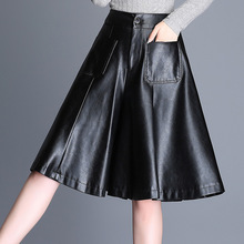 High waist shorts Womens leather skirts 2019 Spring Fashion PU leathe Ladies Skinny Leatherwear Wide leg Girls
