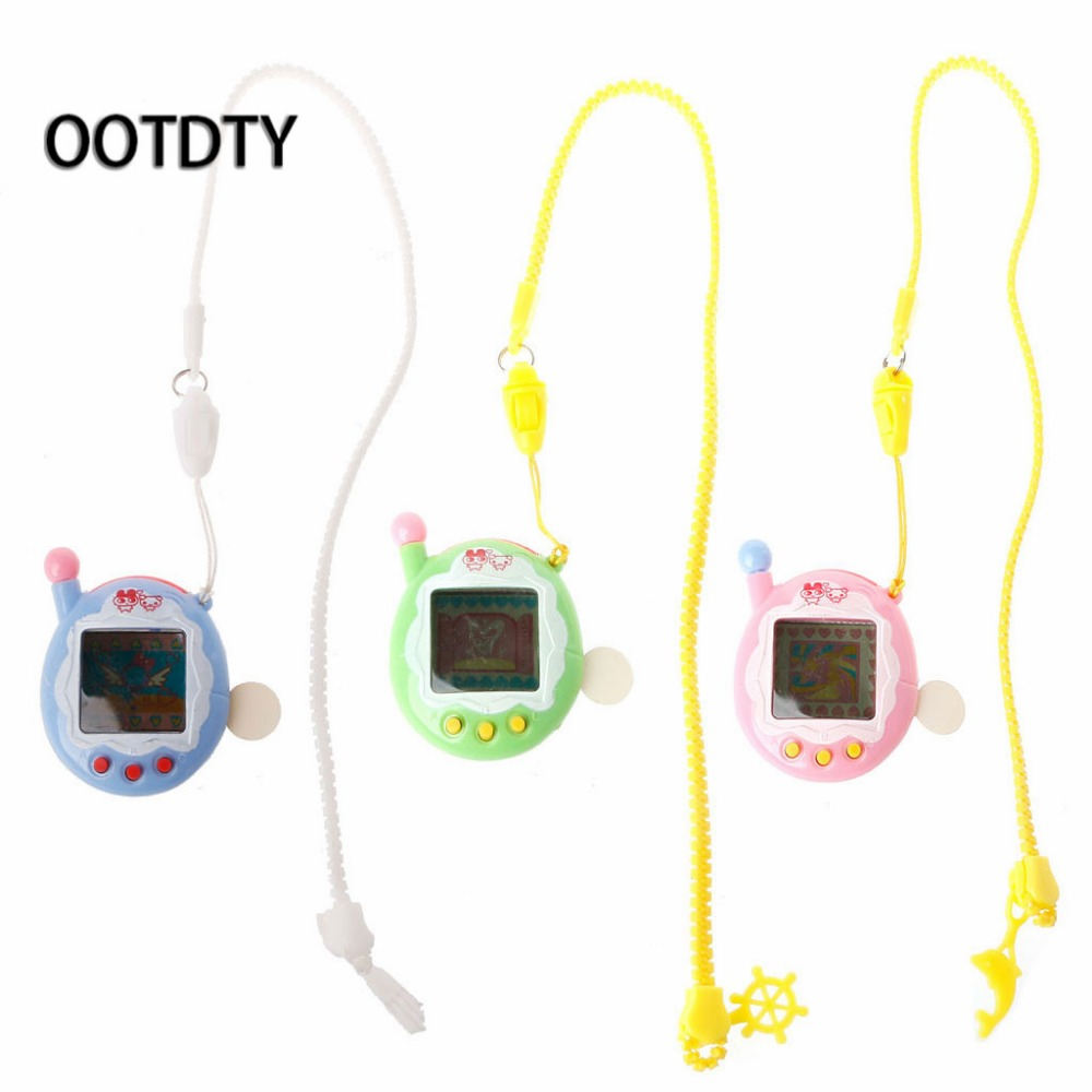 OOTDTY LCD Cyber Virtual Digital Pet Electronic Game Machine With Zipper Neck-Lanyard for children and kids Christmas gifts