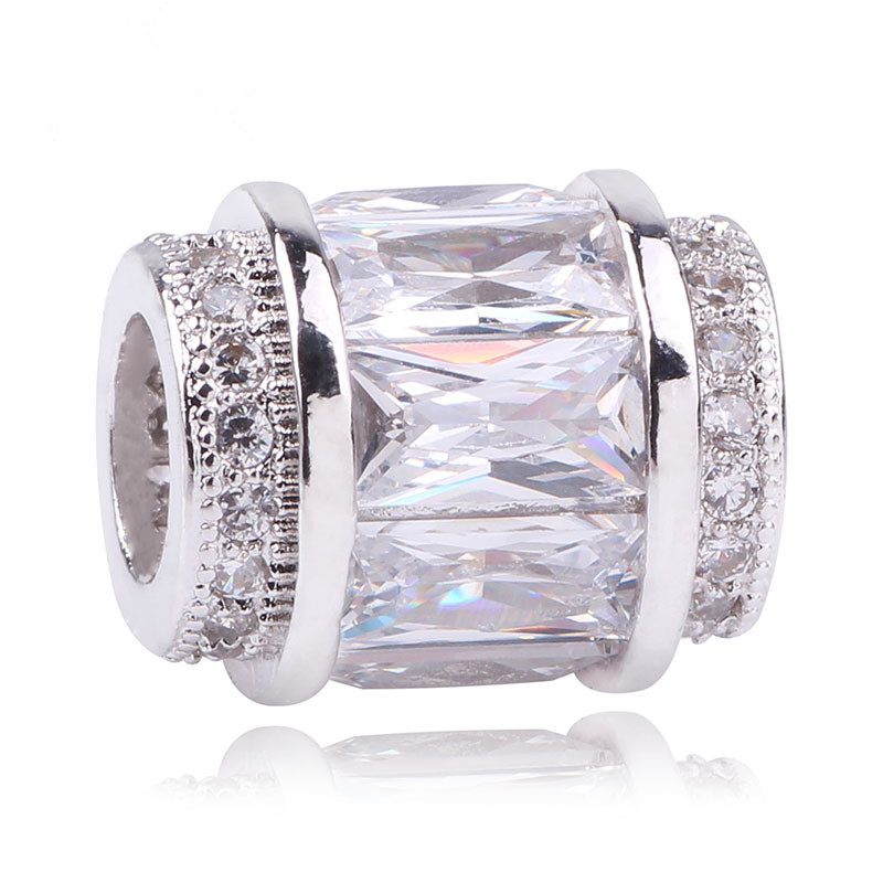 Original Silver C 3 Colors Faceted CZ Intertwining Radiance Charms Beads Fit Pandora Bracelets Shealia Jewelry Making
