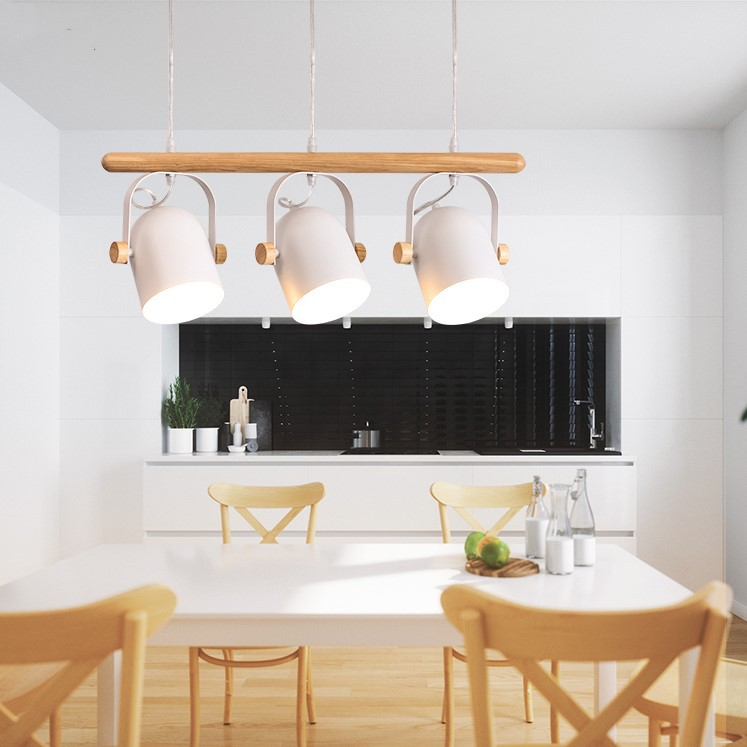 Nordic Led Wooden Pendant Lights Fixture Metal Lampshade For