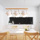 Nordic Led Wooden Pendant Lights Fixture Metal Lampshade For Dining Room Modern Hanging Lamp Angle Adjustable White Drop Light