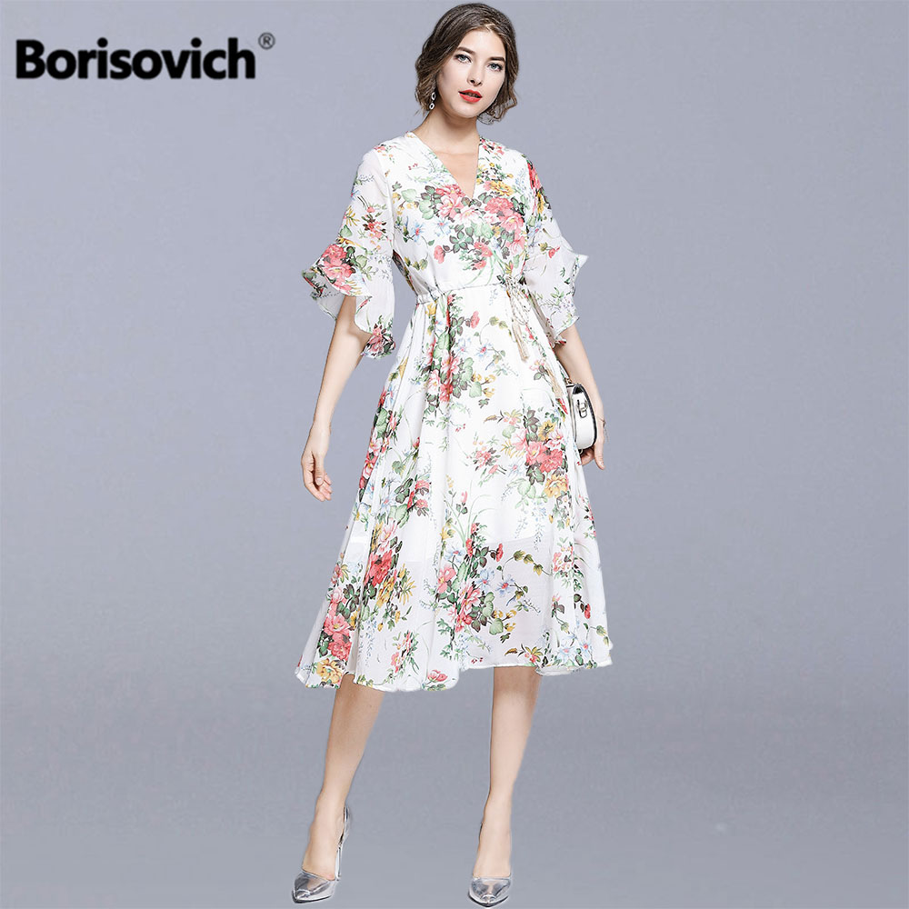 Borisovich Women Summer Chiffon Casual Long Dress New 2019 Fashion Floral Print V neck Flare Sleeve Female A line Dresses N1262-in Dresses from Women's Clothing on AliExpress - 11.11_Double 11_Singles' Day 1