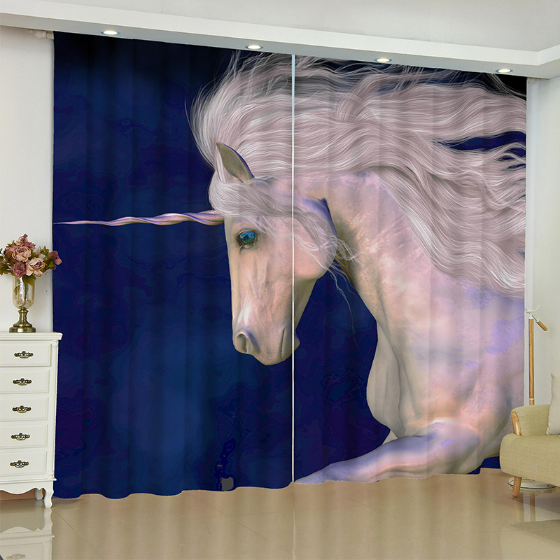 Image 3 - unicorn curtains for window unicorn Pegasus White horse blinds finished drapes window blackout curtains parlour room blinds-in Curtains from Home & Garden