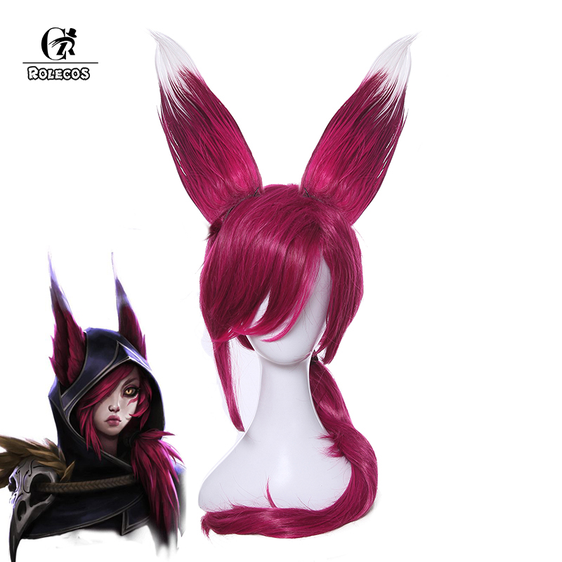 ROLECOS Game Character LOL Cosplay   Headwear   Xayah Cosplay 70cm/27.56inches Long Purple Cosplay Synthetic Hair