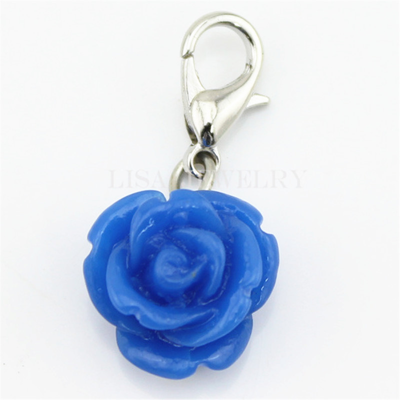 Floating Charms Blue Coral Rose Flowers dangles fit