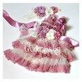 4 set/lote Dusty Pink con cordón de marfil vestidos a juego de la venda y sash cinturón