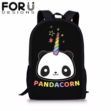 FORUDESIGNS Cute Panda Unicorn School Backpack for Teenager Student Black BookBag Girl Boy 16 inch Satchel Women Daypack Mochila