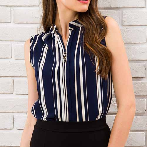 Blue Striped Blouse Shirt Sexy Sleeveless V-neck Summer Top 2018 Office Ladies Work Wear Fitness Female Korean Fashion Clothing 7