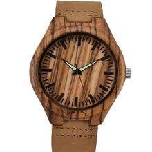 Movimiento de Cuarzo Reloj de Pulsera de Cuero Genuino Relojes De Madera De Bambú de madera Para Los Hombres Y Mujeres Pulsera Creativa