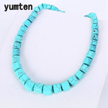 Yumten Turquoise Necklace Men Women Natural Stone Power Crystal Choker Gemstone Statement Big Necklace Personalized Gift Jewelry(China)